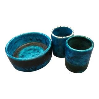 Vintage Guido Gambone/ Bruno Gambone Vessels Circa 1950 Glazed Earthenware - 3 Pieces For Sale