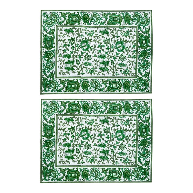 Aria Placemats Green - A Pair For Sale
