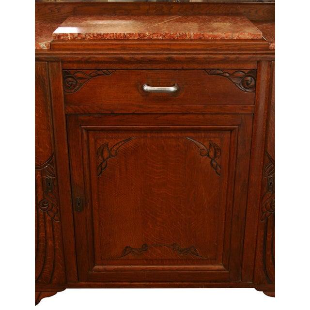 Wood 1920s Antique Art Deco Oak Buffet For Sale - Image 7 of 8