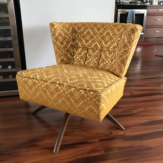 Yellow 1960s Vintage Vanity Swivel Chair For Sale - Image 8 of 8