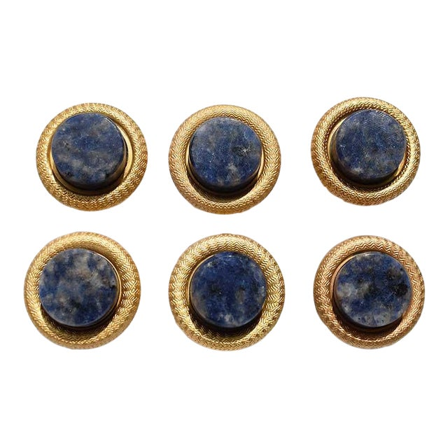 Sherle Wagner Semiprecious Round Blue Lapis Lazuli Cabinet Pulls- Set of 6 For Sale