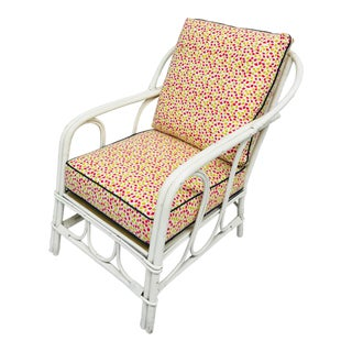 1950s Vintage White Rattan Arm Chair For Sale