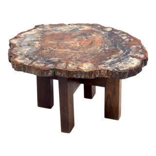 Ado Chale, Side Table in Petrified Wood, Circa 1970 For Sale