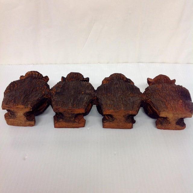 Brown Vintage Hand Carved Wise Monkeys Sculpture - S/4 For Sale - Image 8 of 8
