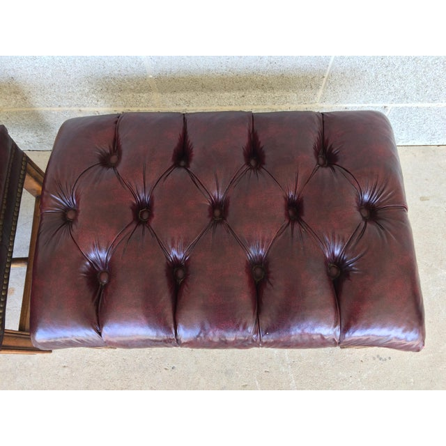 Chippindale Style Stretcher Base Oxblood Footstools A Pair - Image 4 of 9
