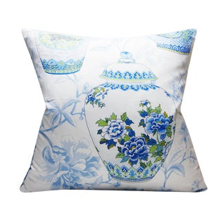 Chinoiserie Haru in Bluebell Blue and White Print Decorative Pillow For Sale