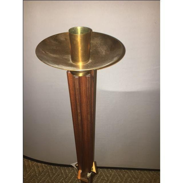 Teak and Brass Standing Prickets - Pair - Image 4 of 6