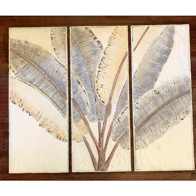 Boho Chic Pressed Tin Triptych of Painted Banana Leaves by Kalalou - 3 Pieces For Sale - Image 3 of 13
