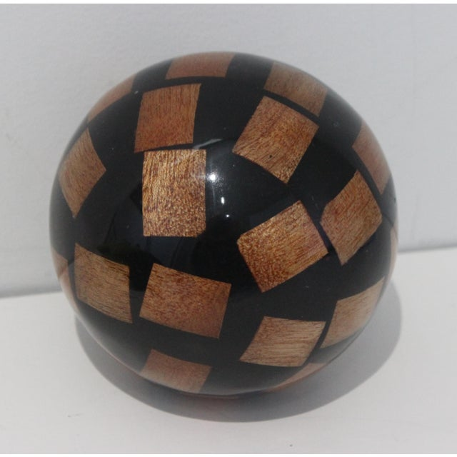 Late 20th Century Vintage Decorative Spheres of Random Lacquered Mahogany Chips - 5 Are Available For Sale - Image 5 of 7