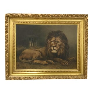 Late 19th Century Antique Lion Oil on Canvas Painting For Sale