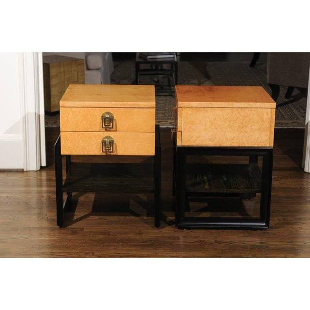 1950s Magnificent Pair of End Tables by Renzo Rutili in Birdseye Maple, Circa 1955 For Sale - Image 5 of 13