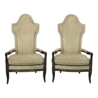 Mid Century Hollywood Regency Mediterranean High Backed Pair of Armchairs For Sale