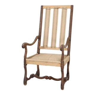 Antique French Os De Mouton Throne Arm Chair For Sale