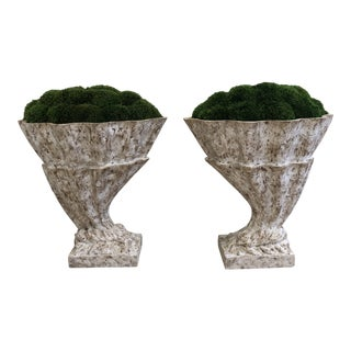 Cornucopia Style Urns With Moss - A Pair For Sale