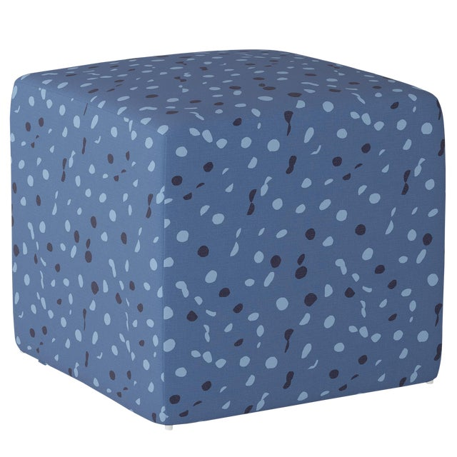 Cube Ottoman in Blue Dot by Angela Chrusciaki Blehm for Chairish For Sale