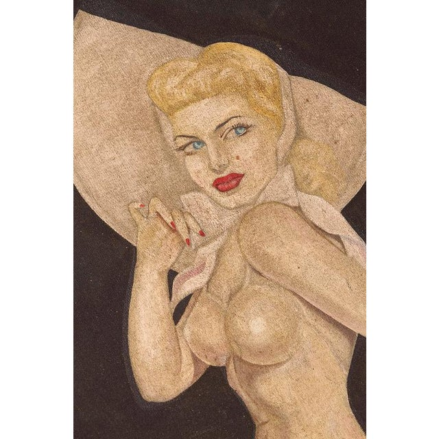 "1940s Large Art Deco ""Trench Art"" Pin-Up Painting, Oil on Heavy Cloth, Signed For Sale - Image 5 of 11"