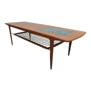 Danish Modern Teak Surfboard Coffee Table For Sale