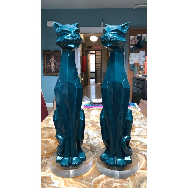 Plastic Geometric Enameled Cats - a Pair For Sale - Image 7 of 7