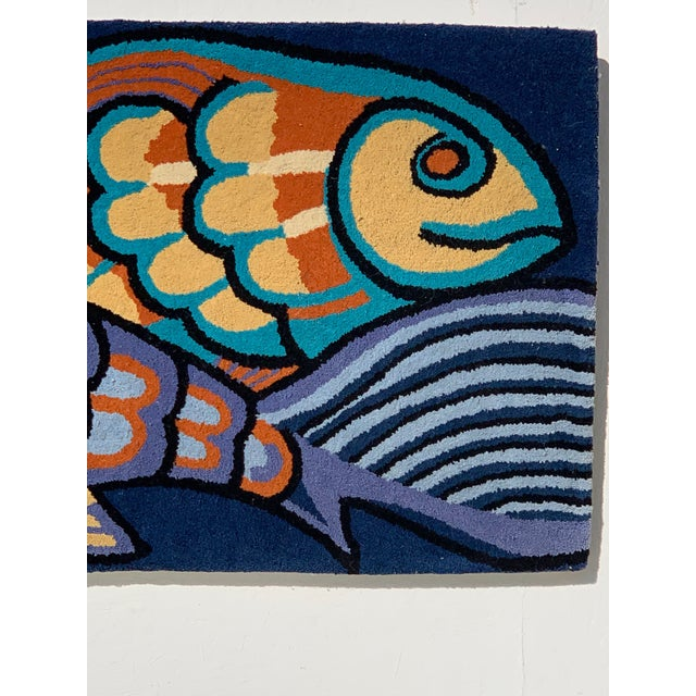1970s Bold Fish Weaving Carpet Wall Decor For Sale - Image 4 of 7