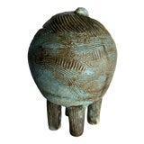 Image of 1960s Minimalist Sgraffito Blue Brown Ikebana Ceramic Sphere Footed Vase For Sale