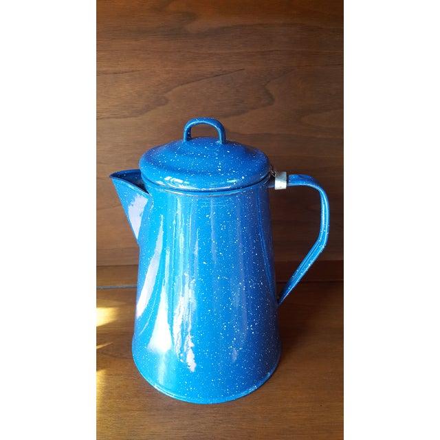 Vintage Blue Enamel Graniteware Enamel Tea Kettle For Sale - Image 13 of 13