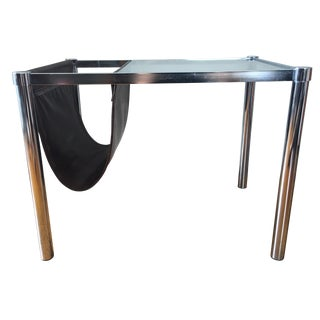 Mid-Century End Table Sling Magazine Holder For Sale