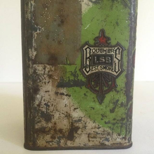 "Vintage Early 1900's ""Boucher's Handmade"" Tobacco Tin Box For Sale - Image 11 of 11"
