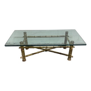 1970s Italian Gilt Faux Bamboo Glass Top Coffee Table For Sale