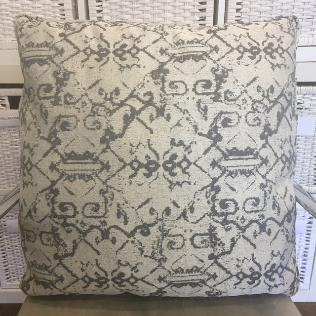 Native American Grey White Ethnic Print Pillows - A Pair For Sale - Image 3 of 3