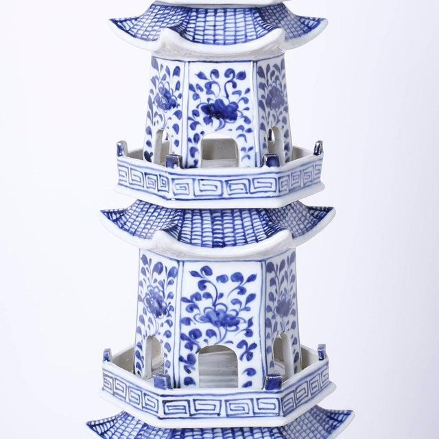 Blue Chinese Blue and White Porcelain Pagodas - a Pair For Sale - Image 8 of 13