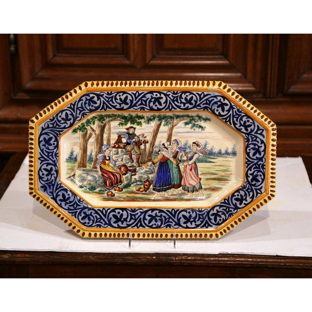 Ceramic Large 19th Century French Hand-Painted Ceramic Platter From Henriot Quimper For Sale - Image 7 of 7