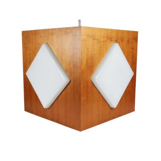 Mid-Century Teak & Frosted Glass Pendant For Sale