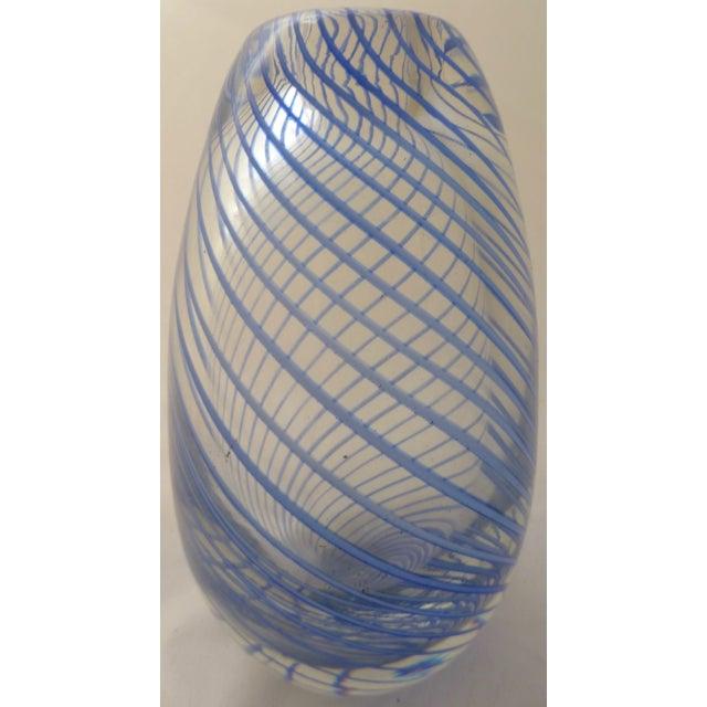 Murano Mid Century Glass Blue Swirl Vase - Image 2 of 9