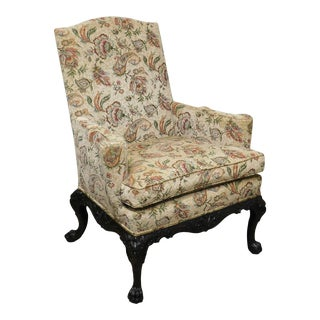 George II Style Antique Carved Mahogany Wing Chair For Sale