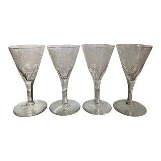 Antique Engraved Flint Glass Trumpet for Wine Stems - Set of 4 For Sale