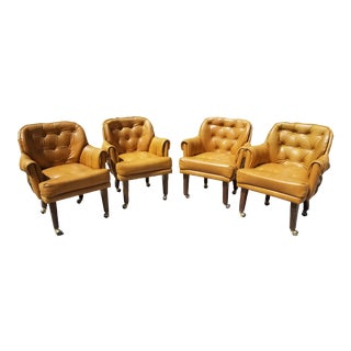 1970s Mid Century Naugahyde Dining Chairs by S. X. Graham - Set of 4 For Sale