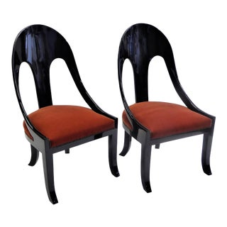 1930s Art Deco Black Lacquered Spoonback Chairs with Mohair Upholstery - a Pair For Sale