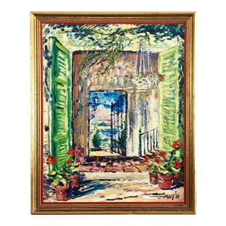 Original Spanish Courtyard Oil Painting For Sale