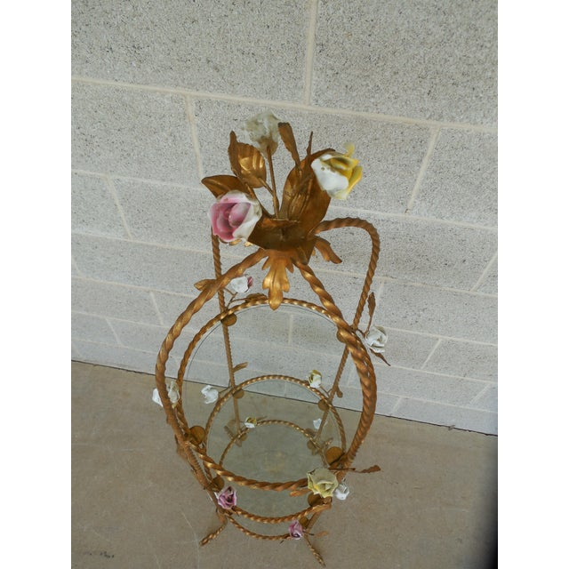 Gold Vintage Italian Gilt Hand Painted Rose Petal Accented Etagere For Sale - Image 8 of 8