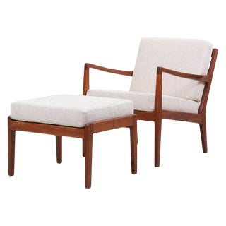 Newly Upholstered Lounge Chair With Ottoman by Arden Riddle, 1960s For Sale