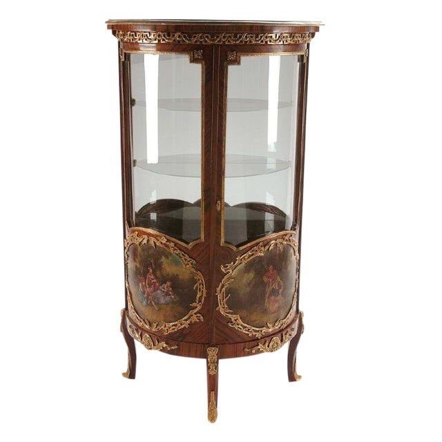 Louis XV Style Vitrine Rosewood Double Door With Ormolou For Sale