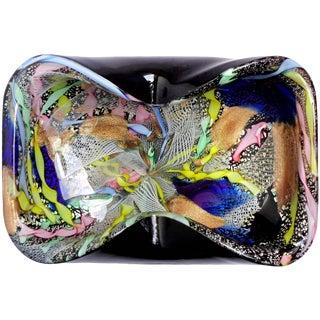 AVeM Murano Black Silver Leaf Zanfirico Ribbons Italian Art Glass Bowl Dish For Sale
