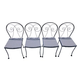 Midcentury Iron Patio Set-4, Nautical Blue Stripe Chairs For Sale