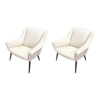 Style of Gio Ponti Extremely Refined Design Pair of Armchairs