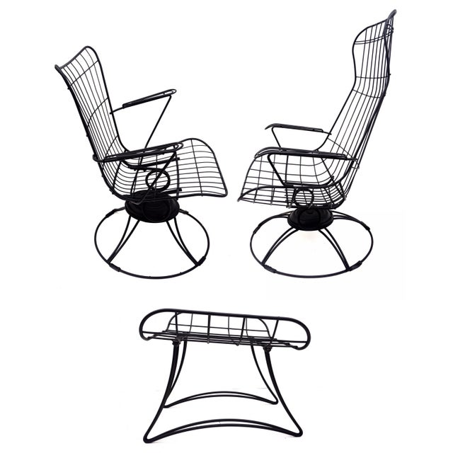 Green Mid-Century Homecrest Metal Wire Patio Chairs & Ottoman    Indoor/Outdoor High Back Swivel Rocker Lounger Footstool Original Cushions Included For Sale - Image 8 of 10