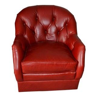 Kiernan Red Leather Tufted Swivel Chair