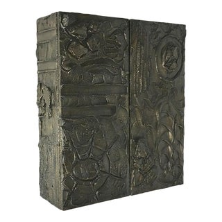 Paul Evans Designed Bronzed Resin Wall Hung Cabinet 1970 For Sale