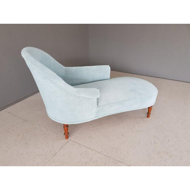 Upholstery Blue French Style Chaise Lounge For Sale In New York - Image 6 of 13