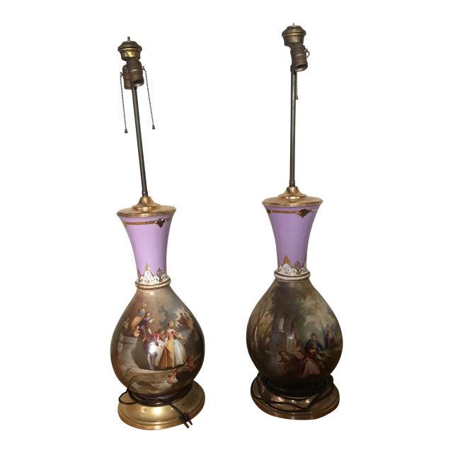 Antique Porcelain Victorian Lamps - a Pair For Sale