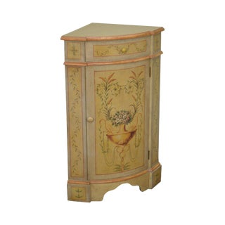 Venetian Style Painted Low Corner Cabinet With Drawer